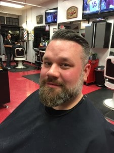 Kelly O'Brien after getting his hair and beard done at Cruisin' Style Barber Parlor